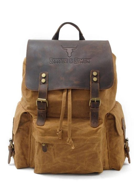 Luxury Vintage Canvas Backpacks, Oil Wax Canvas Leather Travel Backpack Large Waterproof Daypacks Retro Ruck Sack - Stitch & Simon