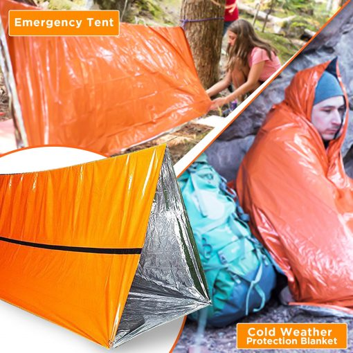 Emergency Car Foil Blanket Cold Survival  - 2 Person Emergency Shelter, Tube Tent for Camping - Stitch & Simon