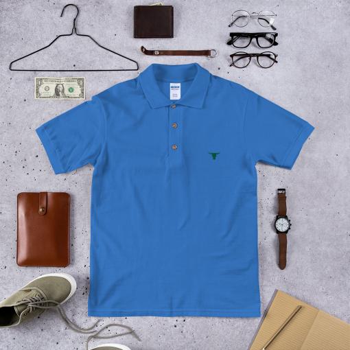 Green Bulls Head Stitch & Simon Embroidered Polo Shirt