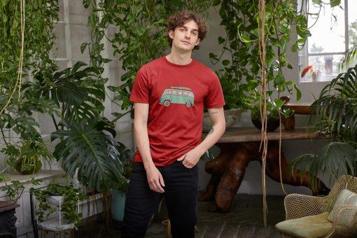 RED Mens Organic T-Shirt Camper Van