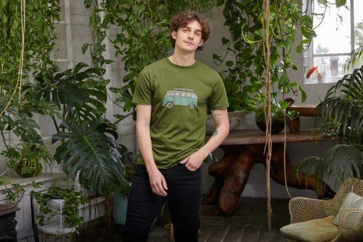 Green T-Shirt Camper Van Organic