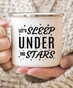 Camping Mug - Enamel Mug Campfire Mug - Let's Sleep Under The Stars - Ideal Camping Gift - Stitch & Simon
