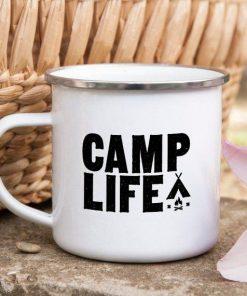 Camping Mug Enamel Mug Campfire Mug Camp Life Tin - Camping Gifts - Stitch & Simon