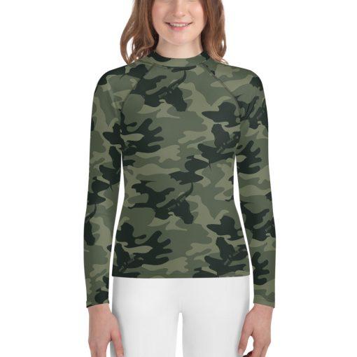 Girls Rash Vest in Green Camo design