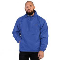 Blue weatherproof rain jacket