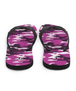 Bold coloured flip flips in camo
